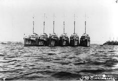 Destroyer Division 38 nested together in San Diego, 1921. From left to right: USS Edsall (DD-219); USS McCormick (DD-223); USS Bulmer (DD-222); USS Simpson (DD-221); USS MacLeish (DD-220); and USS Parrott (DD-218).