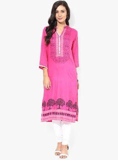 Shree Pink Printed Cotton Kurta