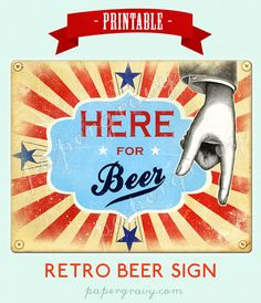 Printable Retro Here For Beer Wall Art