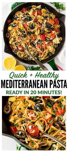 Mediterranean Pasta with artichoke, tomato, garlic, and lemon. One of our favorite fast and healthy pasta recipes! Easy to make, warm, and filled with bright flavor! Keep the recipe vegetarian or serve with chicken or shrimp. #healthy #pasta #mediterranean via @wellplated