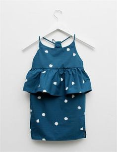 Creatures of Comfort Lil Nora Dress- Pom Pom Print Teal