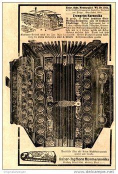 Original-Werbung/ Anzeige 1907 - TROMPETEN - HARMONIKA / HEINRICH SUHR NEUENRADE - ca. 110 x 155 mm