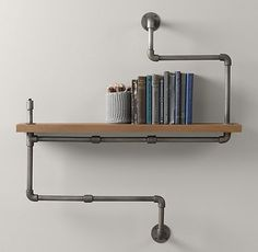 Industrial Pipe Shelf - contemporary - wall shelves - - by Restoration Hardware Baby & Child Industrial Pipe Shelves, Industrial Home Design, Industrial House, Industrial Interiors, Industrial Furniture, Rustic Industrial, Metal Shelves, Shelf Brackets, Floating Shelves