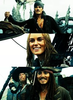 Pirates of the Caribbean Will Turner, Elizabeth Swann and Jack Sparrow Captain Jack Sparrow, Long John Silver, On Stranger Tides, Elizabeth Swann, Johny Depp, Pirate Life, Will Turner, Keira Knightley, Pirates Of The Caribbean