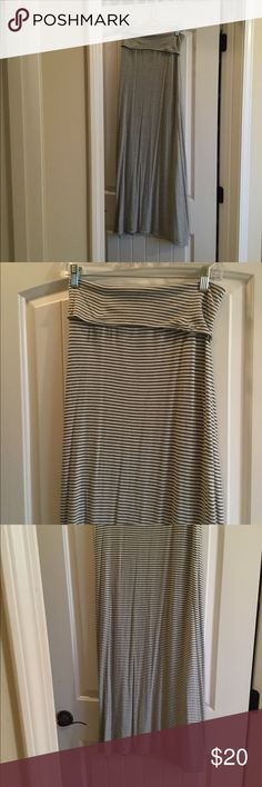 """Max Studio grey/white striped skirt size medium Max Studio grey/white striped skirt size medium. Fold over waist 42"""" long 95% rayon 5% spandex. Good condition worn a few times Skirts"""