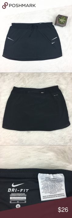Nike Dry-Fit Tennis Skirt Nike dry-fit tennis skirt with mesh detail. Size medium. 12' long with elastic waist. EUC no major flaws. Has compression shorts underneath. ❌No trades ❌ Modeling ❌No PayPal or off Posh transactions ❤️ I 💕Bundles ❤️Reasonable Offers PLEASE ❤️ Nike Skirts