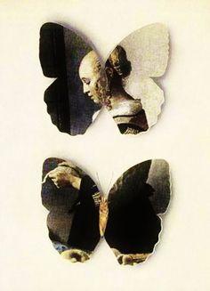 "a collage by Jiří Kolář of ""Girl Reading a Letter at an Open Window"" by Jan Vermeer"