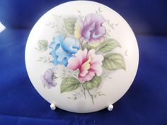 Purbeck Poole, trinket box, sweet pea design, round trinket box, four inches across, English pottery, large trinket box, by MaddisonsRainbow on Etsy English Pottery, Vintage China, Trinket Boxes, Decorative Plates, Unique Jewelry, Sweet, Handmade Gifts, Etsy, Design