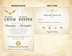 "Harry Potter Wedding Invitations | ""He's found a CATCH"", ""She's found a KEEPER"" 