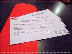 Descarga estos cupones amorosos para una ocasión especial o para el día de San Valentín! <3 Dale click al link de abajo para descargarlos completamente gratis!   http://creativaofficial.com/cupones-romanticos-imprimibles-para-san-valentin/