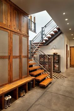 modern ski chalet beautiful rustic interiors 2 foyer Modern Ski Chalet with Beautiful Rustic Interiors