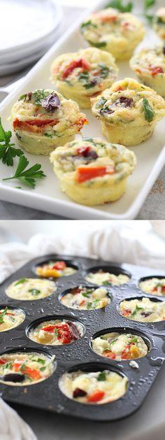 Mini Mediterranean Frittatas are easy entertaining thanks to your muffin tin | foodiecrush.com