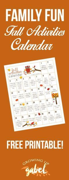 Free printable calendar of fall activities for kids includes outdoor activities, crafts, recipes, and other fun ideas for fall! Lots of ideas for both parents and teachers!