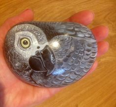 Grey parrot hand painted rock stone ornament or by Cobblecreatures, £12.00
