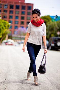 Top :: Splendid  Bottom :: Paige Denim  Shoes :: Vintage gray cut-out sandals  Bag :: Chanel diamond stitch tote  Accessories :: Chan Luu scarf and wrap leather bracelets