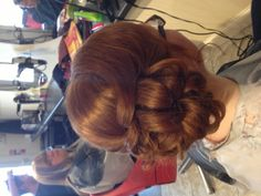 Side loop bun, red head! Pretty