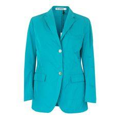 JIL SANDER $2,065 terquoise blue SS11 poly-silk runway blazer jacket 36-F/4 NEW #JilSander #Blazer