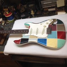 Check out this #FenderCustomShop Color Chart Strat, which features famous Fender colors with color code numbers attached.