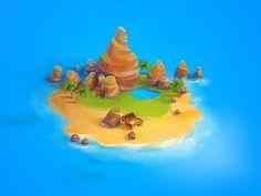 (Ps) Island on Behance Fantasy Concept Art, Fantasy Artwork, Badge Icon, 2d Game Art, Board Game Design, Isometric Art, Game Background, Prop Design, Game Concept