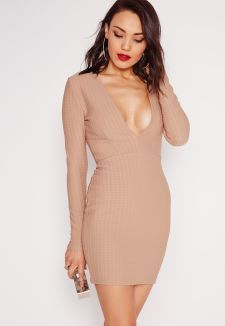 Missguided - Textured Long Sleeve Plunge Bodycon Dress Taupe