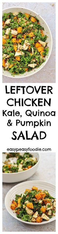 Delicious, easy and healthy, this Chicken, Kale, Quinoa and Pumpkin Salad is the perfect way to use up leftover chicken and makes an excellent lunch – you will be the envy of all your colleagues when you turn up at the office with this. No pumpkin? Don't