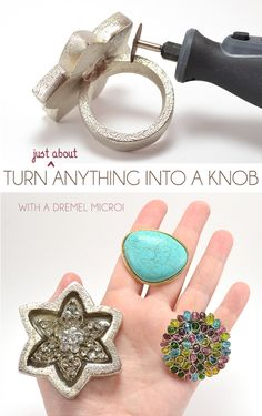 DIY Knobs From Just About Anything with Dremel Micro . make drawer knobs out of practically anything with a Dremel (think rings and napkin rings, etc. Dremel Tool Projects, Diy Projects, Dremel Ideas, Dremel Werkzeugprojekte, Dremel Carving, Dremel Set, Wood Carving, Farmhouse Side Table, Rustic Farmhouse