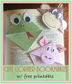 Cute Corner Bookmarks with Free Printable