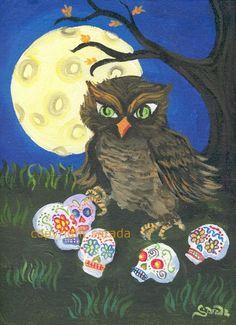 Halloween owl with sugar skulls art print