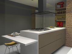 Cozinha com ilha e bancada para refeições