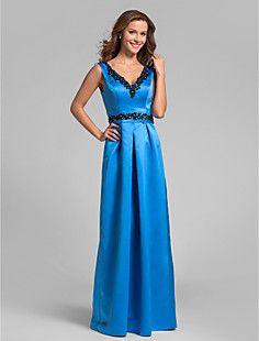 Sheath/Column V-neck Floor-length Satin Bridesmaid Dress (81... – GBP £ 90.47