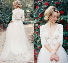 2016 Lace Bohemia Wedding Dresses V Neck Beads Sash Illusion Half Sleeve Wedding Gowns A Line Sheer Summer Vestido De Noiva Long Bridal Ball Online with $104.03/Piece on Hjklp88's Store