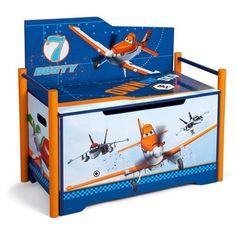 Disney Pixar Planes Toy Box Bench Children Kids Room Toddler Toy Chest  Storage