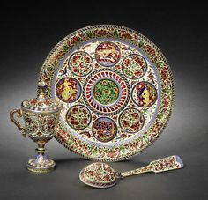 A Jaipur diamond-set enamelled gold Dish, Goblet and Spoon   India, 19th Century