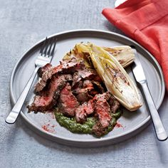 Skirt steak, nicely marbled with fat, takes well to marinades, like this simple mix of herbs and garlic. Mario Batali accents the grilled meat with a ...