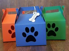 paw boxes! Paw patrol, favor boxes, doggie boxes, bone tag by AlessandraKreations on Etsy https://www.etsy.com/listing/264014960/paw-boxes-paw-patrol-favor-boxes-doggie