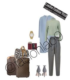 """""""Off to London Fashion Week"""" by fashionlab9 on Polyvore featuring Louis Vuitton, Royce Leather, Rolex, Tory Burch, Maje and Zimmermann"""