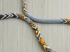 Bead Crochet Necklace Ethno by Chudibeads on Etsy