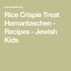 Rice Crispie Treat Hamantaschen - Recipes - Jewish Kids