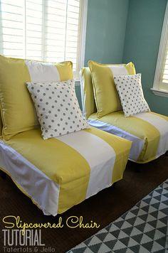 Slipcovered chair tutorial.  Polka dot cushions