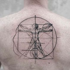 The Vetruvian Man Chaotic Blackwork Tattoo by Frank Carrilho @FrankCarrilho FrankCarrilhoTattoo FrankCarrilho Chaotic Black Blackwork Vetruvianman