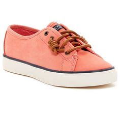 Sperry Seacoast Nubuck Sneaker ($50) ❤ liked on Polyvore featuring shoes, sneakers, coral, sperry shoes, leather lace up shoes, synthetic shoes, nubuck leather shoes and nubuck sneakers