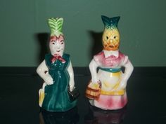 Pineapple Lady and Turnip Salt & Pepper Shakers