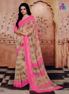 Fashion and trend will be at the peak of your magnificence the moment you dresses this beige georgette casual saree. The appealing print work a considerable characteristic of this attire. Cotton Sarees Online Shopping, Silk Sarees Online, Cotton Silk, Printed Cotton, Casual Saree, Georgette Sarees, Saree Styles, Blouse Online, Daily Wear