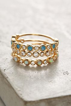 Anthropologie Opal Lustre Ring Set jewelry accessories