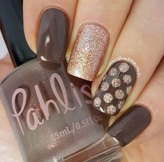 Neutral and Glitter Nail Art | Polka Dot Nail Art | Manicure #nailart