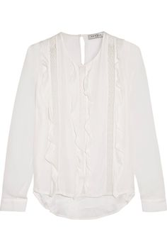 SANDRO ESTY RUFFLED CHIFFON-PANELED LACE-TRIMMED JERSEY TOP £87.95 http://www.theoutnet.com/product/874777