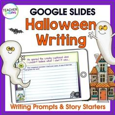 Use Halloween writing prompts for in-person or hybrid learning, creative writing centers or fast finishers. Type directly on the story starter slides & have an eerily good time! Use Google Slides for creative writing fun! 30 story starters with a blank writing slide. ©Teacher Features***********...