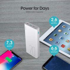 20000mAh Power Bank, ROMOSS Sense 6 Plus Portable Charger