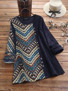 Limited Chance for Ethnic Print Corduroy Patchwork Long Sleeve Vintage Blouse If You will buy for Cartoon Cat Stripe Patchwork Long Sleeve. Stylish Dresses For Girls, Stylish Dress Designs, Designs For Dresses, Stylish Dress Book, Pakistani Fashion Casual, Pakistani Dresses Casual, Pakistani Dress Design, Frock Design, Kurta Designs Women