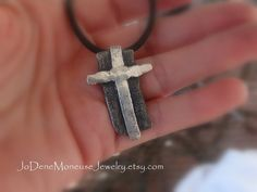 Mens rustic CROSS necklace, hand fabricated, fused, sterling silver on black leather by JoDeneMoneuseJewelry